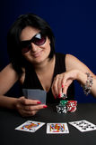 Playing Poker in Casino Royalty Free Stock Images