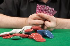 Playing poker close-up. Royalty Free Stock Images