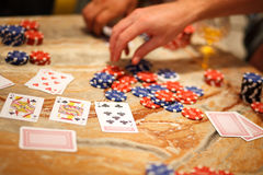 Playing poker with friends Stock Images
