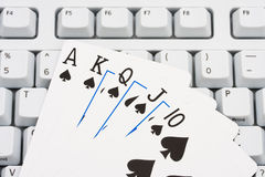 Playing poker online Royalty Free Stock Photos
