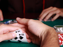 Playing poker Stock Photo