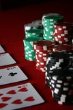 Playing poker related games with cards and chips stock photography