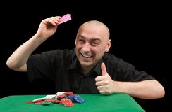 Playing poker . Winner Stock Photo