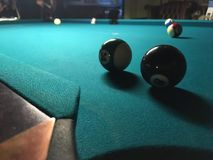 Playing pool. Balls on a pool Royalty Free Stock Image