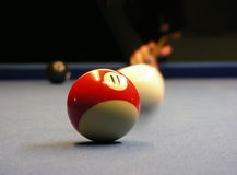 Playing pool billiard Stock Photo