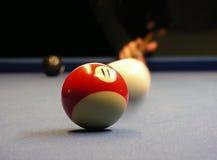 Playing pool billiard. Pool billiard game, focus on ball in the front stock photo