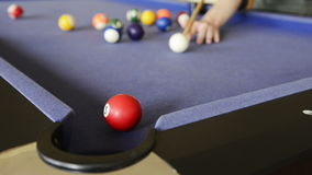 Playing Pool on Pool Table stock video footage