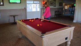 Playing pool table stock footage