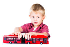 Playing preschool boy isolated on white backgroun Royalty Free Stock Photography