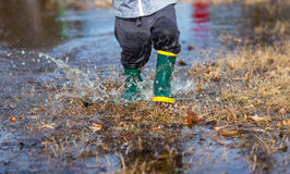 Playing in Puddles Stock Photo