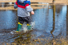Playing in Puddles Stock Image