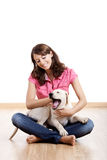Playing with a puppy Stock Image