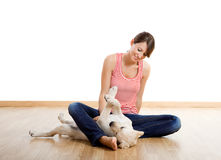 Playing with a puppy Royalty Free Stock Images
