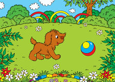 Playing puppy vector illustration