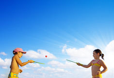 Playing rackets Royalty Free Stock Images