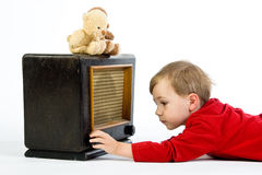 Playing with a radio Royalty Free Stock Photography