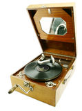 Playing record. View at old retro gramophone with record Stock Photos