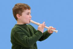 Playing a Recorder Royalty Free Stock Images
