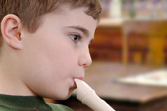 Playing Recorder Stock Photo