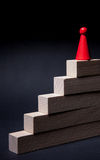 Playing red chip on the wooden stairs Stock Photo