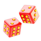 Playing red and yellow glossy dices isolated Royalty Free Stock Photography