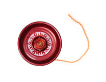 Playing red yo-yo. Red yoyo with twine isolated on the white background Stock Photo