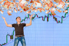 Playing on the rise in the stock market. Stock Photo