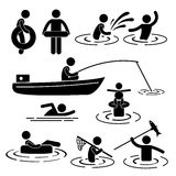 Playing at River and Water. A set of pictogram representing people's activity in the river and water Royalty Free Stock Photography
