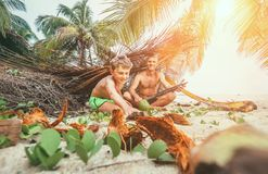 Playing in Robinzones: father and son built a hut from palm tree Stock Images