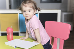 Playing room for chidren. little girl have fun Royalty Free Stock Photo