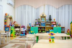 Playing room in a kindergarten class royalty free stock photo