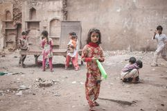 Playing in the ruin. Old Delhi, India : February 15th, 2015 - Shot of children playing at a ruin in Old Delhi, India Royalty Free Stock Photos