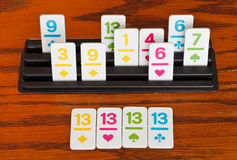Playing in rummy game - group of cards Stock Image