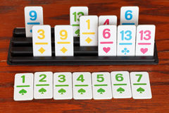 Playing in rummy game - run of card Stock Image