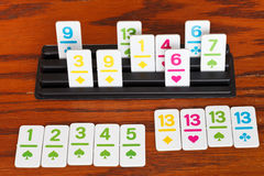 Playing in rummy game - run and group of cards Royalty Free Stock Image