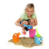 Playing with sand Stock Photography