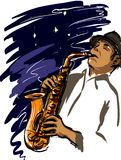 Playing sax. Man playing sax in night vector drawing Stock Photos