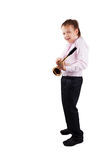 Playing the sax. Young boy playing the sax Royalty Free Stock Photo