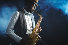 Playing sax Royalty Free Stock Images