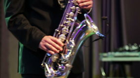 Playing on sax Royalty Free Stock Images