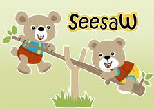 Playing seesaw with cute animals. Two brother bears playing seesaw in the garden, vector cartoon illustration, no mesh, vector on EPS 10 Stock Photos