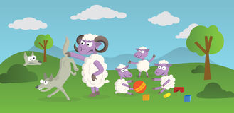 Playing Sheeps and Wolves. Funny Story of playing Sheeps and hunting Wolves in the Nature Royalty Free Stock Photography