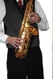 Playing shiny saxophone #2 (isolated) Royalty Free Stock Images