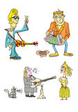 Playing and singing musicians. With guitar or accordion vector illustration