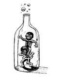 Playing skeletons inside a bottle Stock Image