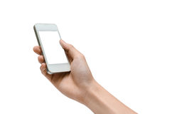 Playing smartphone isolated. Hand holding a white smartphone Royalty Free Stock Images