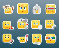 Playing smile stickers Stock Image