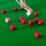 Playing snooker. Several red snooker balls and the pink ball on a snooker table royalty free stock image