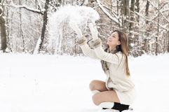 Playing with snow Stock Images