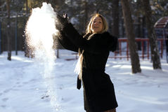 She is playing with snow Royalty Free Stock Photography